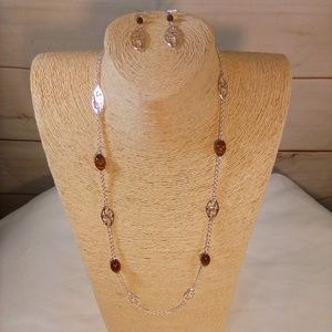 Amber color Necklace & earrings Silver Chain.